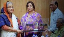 PM receives replica of Bangabandhu satellite