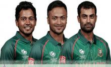 Tigers amass 320/7 as Tamim, Mushfiq, Shakib's flare up