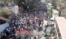BNP activists form human chain protesting Khaleda's jailing
