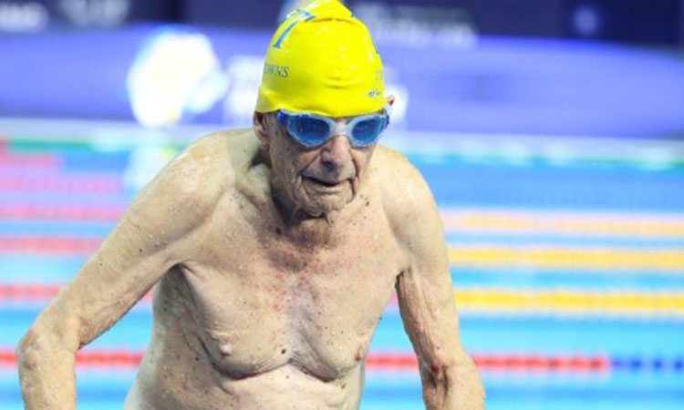 Australian swimmer, 99, 'sets world record'