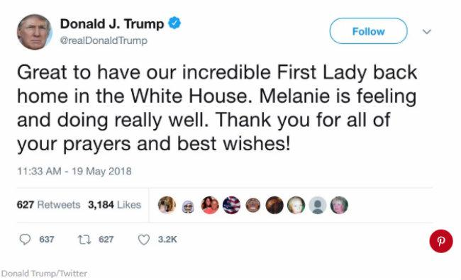 Trump misspells wife's name in tweet as welcomes her
