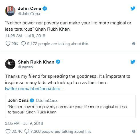 John Cena quotes Shah Rukh, SRK thanks him for 'spreading the goodness'