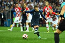 France lead 2-1 against Croatia at halftime