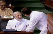 Rahul Gandhi surprises Modi with hug after sharp attack during no-confidence motion