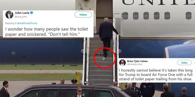Toilet paper gets stuck in Trump's shoe?