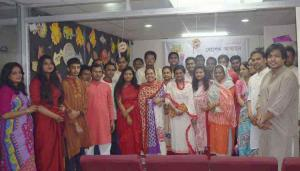 bbarta24.net editor Bani Yesmin Hasi poses with bbarta staff and guests marking Pahela Baishaikh at its office at Kawran Bazar in the capital on Thursday.