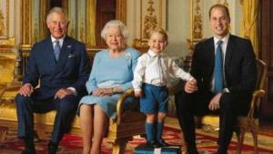 (L-R) Prince Charles, Queen Elizabeth II, Prince George and Prince William during a photo shoot for the Royal Mail in 2015 in the White Drawing Room at Buckingham. Photo: AFP Photo