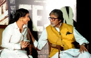 Indian Bollywood actor Amitabh Bachchan(R)and actress Vidya Balan attend the trailer launch of the forthcoming Hindi film 'TE3N' directed by Ribhu Dasgupta and produced by Sujoy Ghosh in Mumbai on May 5. AFP Photo