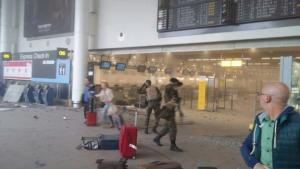 Security has been stepped up after the explosions, Brussels airport